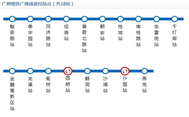 广州广佛线地铁线路图和时间表