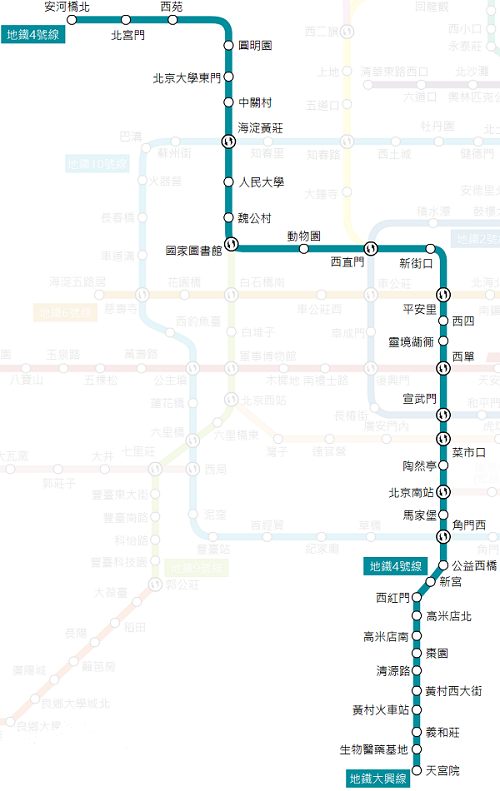 北京4号线地铁线路图和时间表