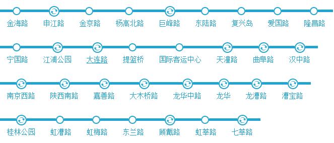 上海12号线地铁线路图和时间表